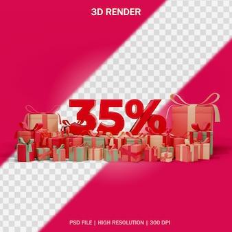 Nummernrabattkonzept mit runden geschenken und transparentem hintergrund im 3d-design