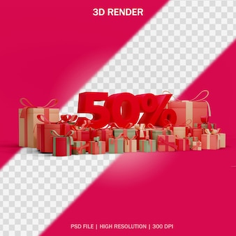 Nummernrabattkonzept mit runder seitenansicht der geschenke und transparentem hintergrund im 3d-design