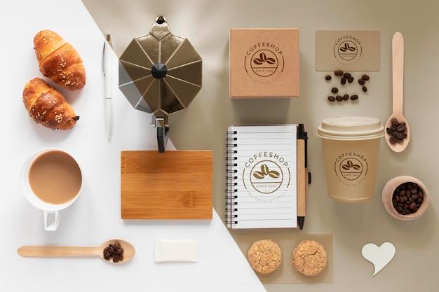 Oben ansicht kaffee branding artikel sortiment