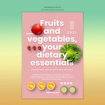 Obst und gemüse jahr druckvorlage