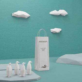 Ocean day papiertüte mit pinguinen