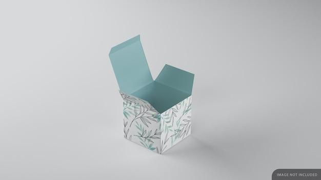 Öffnen sie das cubic box mockup für kleine produkte