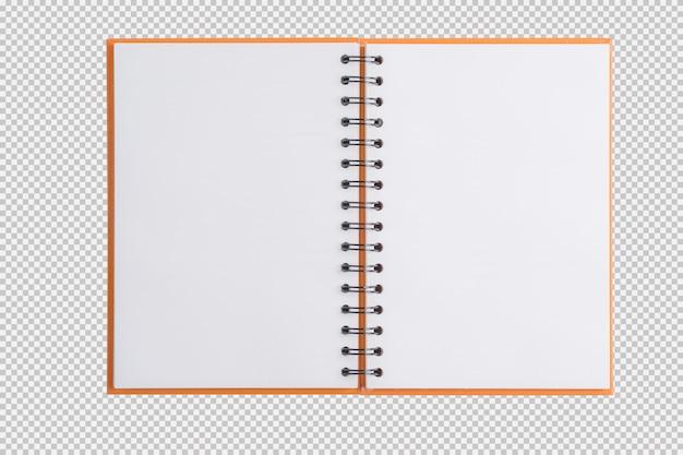 Öffnen sie das notizbuch, das auf weißem hintergrund getrennt wird