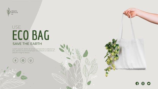 Öko-tasche für gemüse und einkaufsbanner-schablone