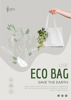 Öko-tasche für gemüse und einkaufsplakat