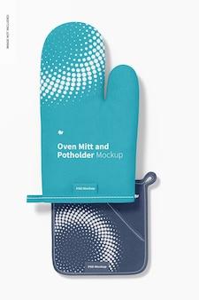 Ofenhandschuh- und topflappenmodell, draufsicht