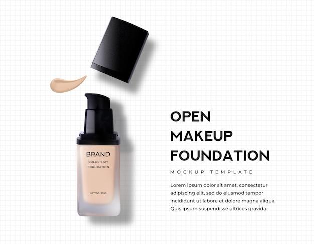 Offene kappe matt make-up foundation und nude beige flüssige gesichtsbedeckung haut