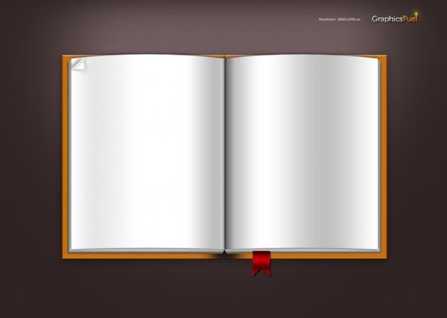 Offene notebook mit lesezeichen