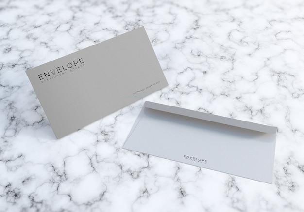Office envelope mockup design mit marmor textur bacakground
