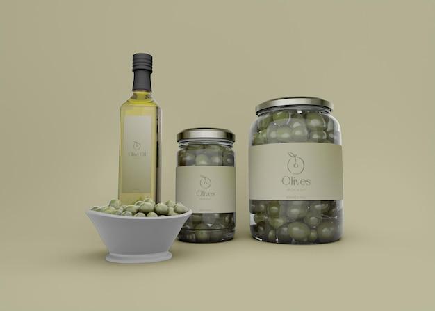 Olivenglas und olivenölflasche mockup