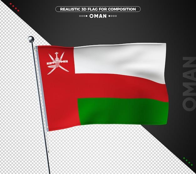 Oman flagge mit realistischer textur