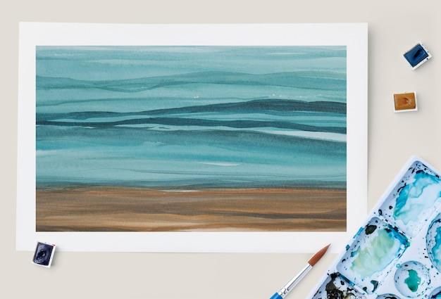 Ombre strand malerei psd-modell im flachen lay-stil