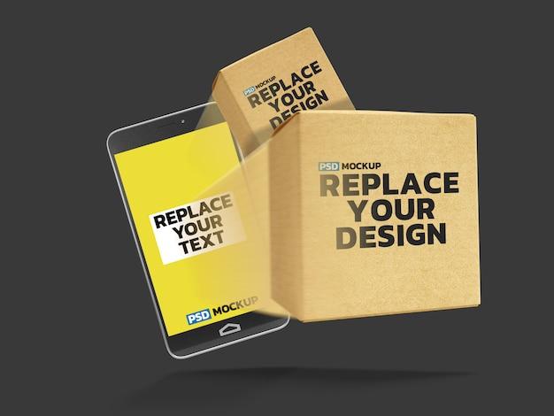 Online delivery box mockup 3d-rendering-design