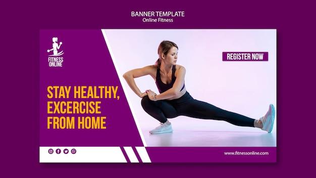 Online-fitness-konzept banner vorlage