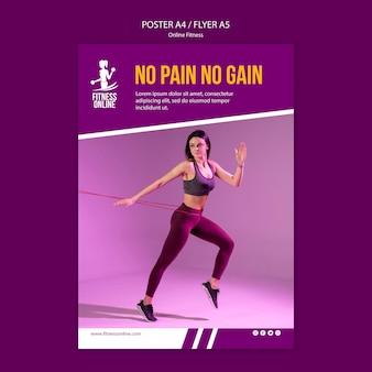 Online fitness konzept konzept flyer vorlage