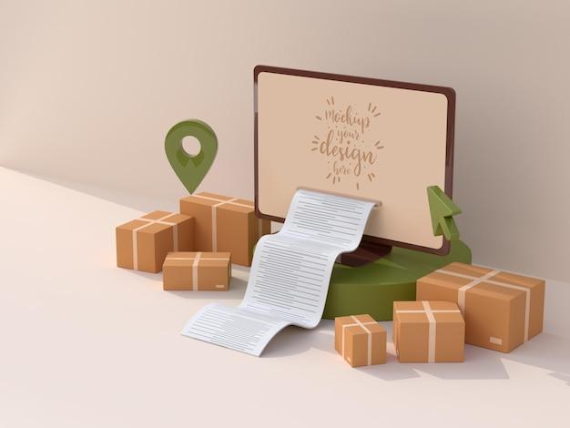 Online-lieferung mit computermodellvorlage mit lieferpaket