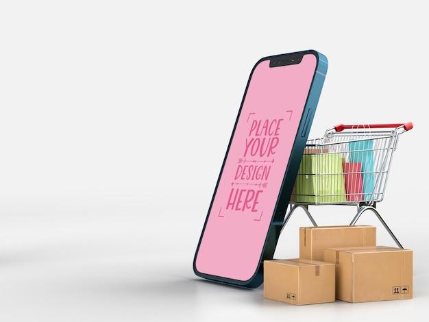 Online-lieferung mit smartphone-modellvorlage mit lieferpaket