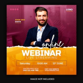 Online live webinar social media post quadrat vorlage