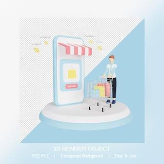 Online-shop auf smartphone mit 3d-charakter
