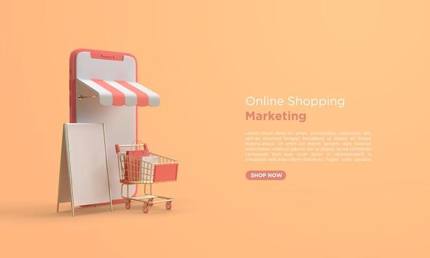 Online-shopping 3d-rendering mit handy und warenkorb