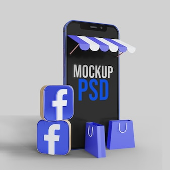 Online-shopping auf facebook-illustration mit smartphone-modell
