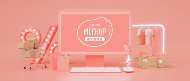 Online-shopping-konzept, computermonitor mit mock-up-bildschirm und online-shop auf rosafarbenem hintergrund, 3d-rendering, 3d-darstellung