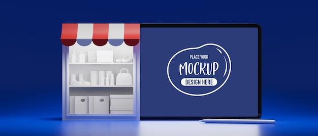 Online-shopping-konzept lagerregale und tablet mit modell