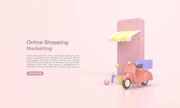 Online-shopping-lieferung 3d-rendering