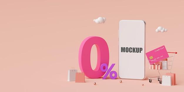 Online-shopping mit 3d-modell-design des sonderangebots