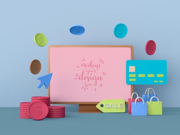 Online-shopping mit computer-modellvorlage und shopping-elementen