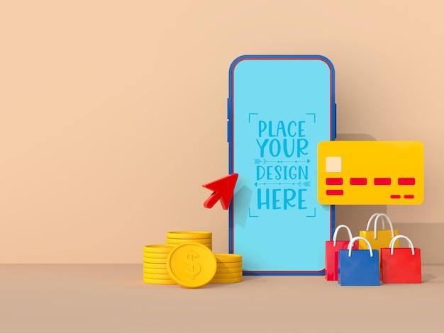 Online-shopping mit modellvorlage für mobilgeräte und einkaufselemente