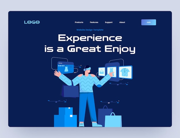 Online-shopping mit virtual reality website-vorlage