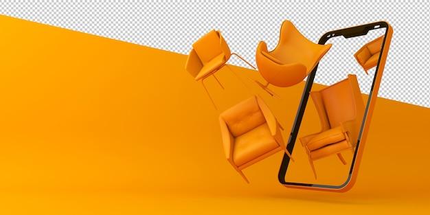 Online-shopping möbel mobile application 3d-rendering