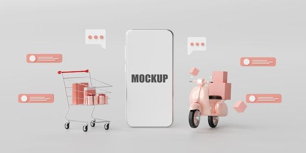 Online-shopping und lieferservice für 3d-rendering von mobilanwendungen Premium PSD
