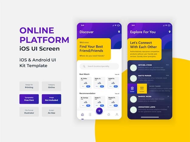 Online soziale plattform mobile app trandy ui-bildschirm