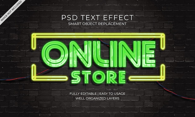 Online store neon text effect