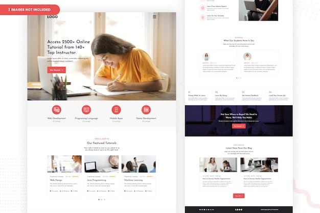 Online tutorials landing page template