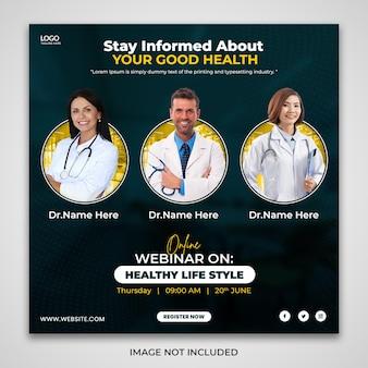 Online-webinar zum thema gesundheits-lifestyle-instagram-werbepost-design Premium PSD