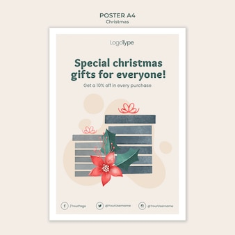 Online-weihnachtseinkaufsschablonenplakat