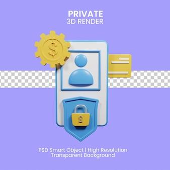 Online-zahlungssicherheit mit smartphone. 3d-darstellung