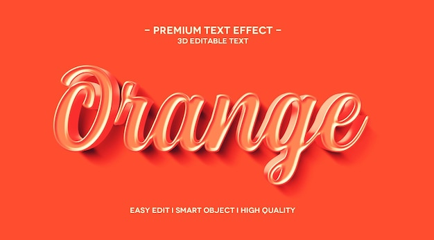 Orange 3d-texteffektvorlage