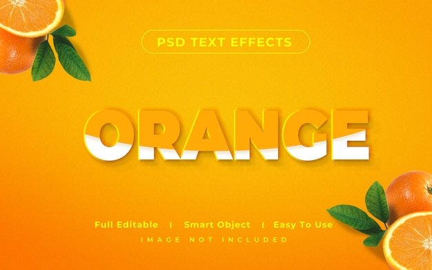 Orange mockup-textstileffekt 3d
