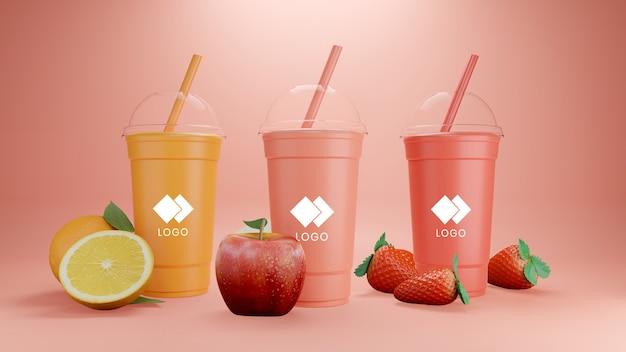 Orangen-, apfel- und erdbeer-smoothie-modell isoliert