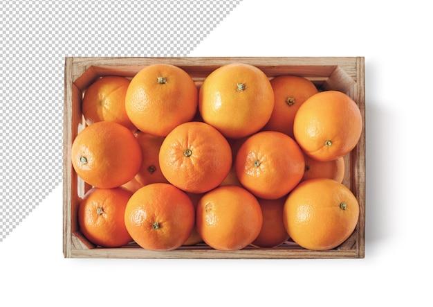 Orangen in einer box-hochansicht, vorlage