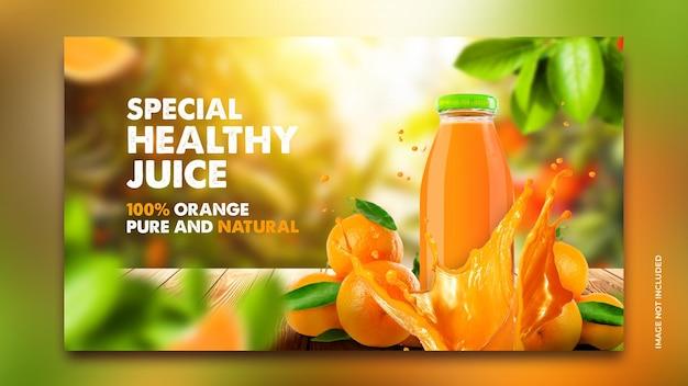 Orangensaftgetränkemenüförderung instagram-postenfahnenschablone mit naturunschärfebaumhintergrund