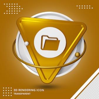 Ordnersymbol im 3d-rendering isoliert