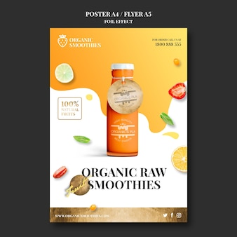 Organic smoothies vorlage flyer