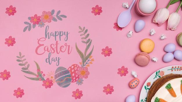 Ostern gemalte eier auf tisch