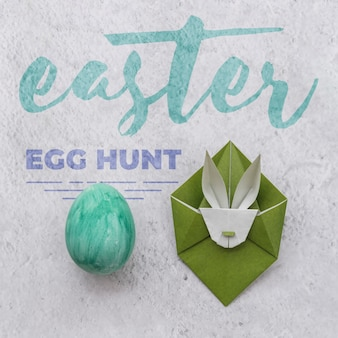 Ostern-modell mit origami-kaninchen