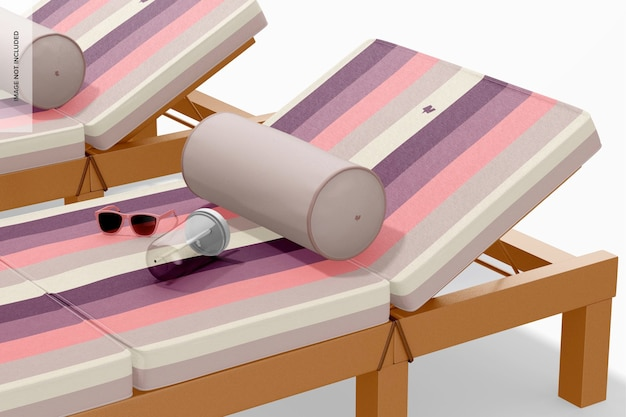 Outdoor lounge chair mockup, nahaufnahme